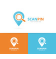 map pointer and loupe logo combination vector image vector image