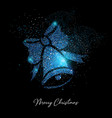 merry christmas blue glitter bell greeting card vector image vector image