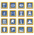 museum icons set blue vector image vector image
