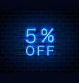 neon 5 off text banner night sign vector image vector image