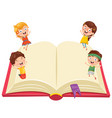 of kids with book vector image