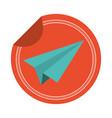paper plane sticker vector image vector image