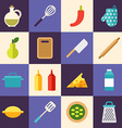 Set of Flat Style Food Icons Cooking Concept vector image
