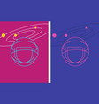 set of two neon cosmic helmet and galaxy cards vector image vector image