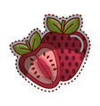 sticker strawberry fruit icon stock vector image vector image