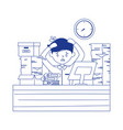 stress at work tired employee working in desk vector image vector image