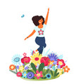 template with happy woman and flowers vector image vector image