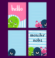 vertical note cards set with cute monsters vector image vector image