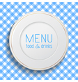 White classic plate on blue checkered tablecloth vector image vector image