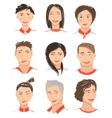 Men and Women Hand Drawn Face Avatars Set vector image