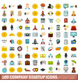 100 company startup icons set flat style vector image vector image
