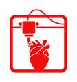 artificial heart in 3d bio-printer vector image vector image