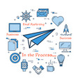 blue icons for success gaining process vector image vector image