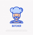 butcher with mustache and hat thin line icon vector image