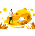 camping man with backpack looking on tent vector image vector image