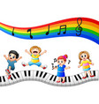 children are playing together with notes vector image vector image