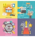Cinema 4 flat icons square composition vector image vector image