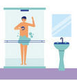 daily activity man taking a shower vector image