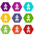 eco house icons set 9 vector image