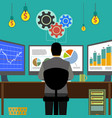 financial graphs and charts monitor computer work vector image vector image