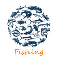 fishing poster with sea and ocean fish vector image vector image