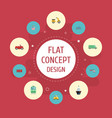 flat icons transport bicycle carriage and other vector image vector image