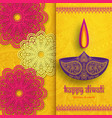 greeting card for diwali festival celebration in vector image vector image