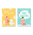 greeting hello winter and merry christmas vector image vector image
