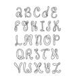 Hand drawn alphabet Doodle letters set Black vector image