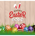 happy easter woodboard greeting card vector image vector image
