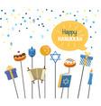 happy hanukkah celebration with religion vector image vector image