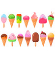 ice cream big set cartoon frozen icecream dessert vector image vector image
