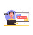 laptop with service error vector image vector image