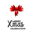 merry xmas celebrations ribbon bow vector image vector image