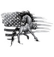 monochromatic american horse flag logo vector image vector image