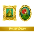 Pattern in a gold frame frog and flower vector image vector image