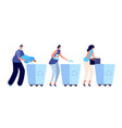 person sorting garbage recycling dustbin vector image vector image