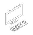 personal computer lcd minotor and keyboard vector image