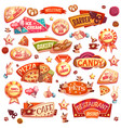 pets and different bakery elements vector image vector image