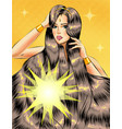 pop art beautiful girl with long glossy vector image vector image