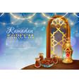 Ramadan kareem traditional festive food poster vector image