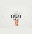 realistic hand pointing idea concept label vector image vector image