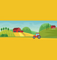 rural landscape panorama with farm cartoon flat vector image vector image