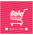 sale shopping cart week all sale ribbon pink backg vector image vector image