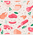 seamless pattern with fresh pieces raw vector image
