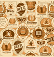 seamless pattern with various beer labels vector image vector image