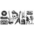 set rock and roll music emblems vector image vector image