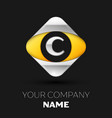 silver letter c logo in the silver-yellow square vector image
