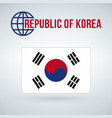 south korea flag isolated on modern background vector image vector image