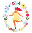 template with happy woman in flower vector image vector image